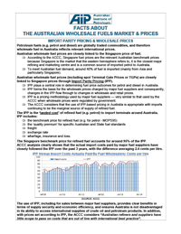 Facts about the Australian Wholesale Fuels Market and Prices