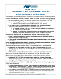 Facts About the International Fuels Market and Prices