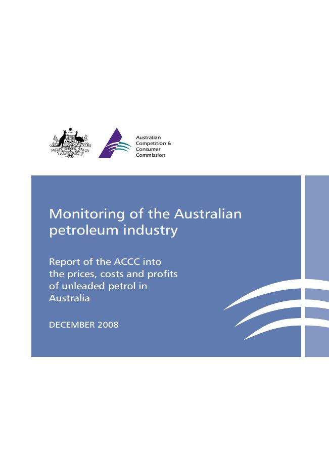 ACCC Formal Price Monitoring Report (December 2008) – First Report