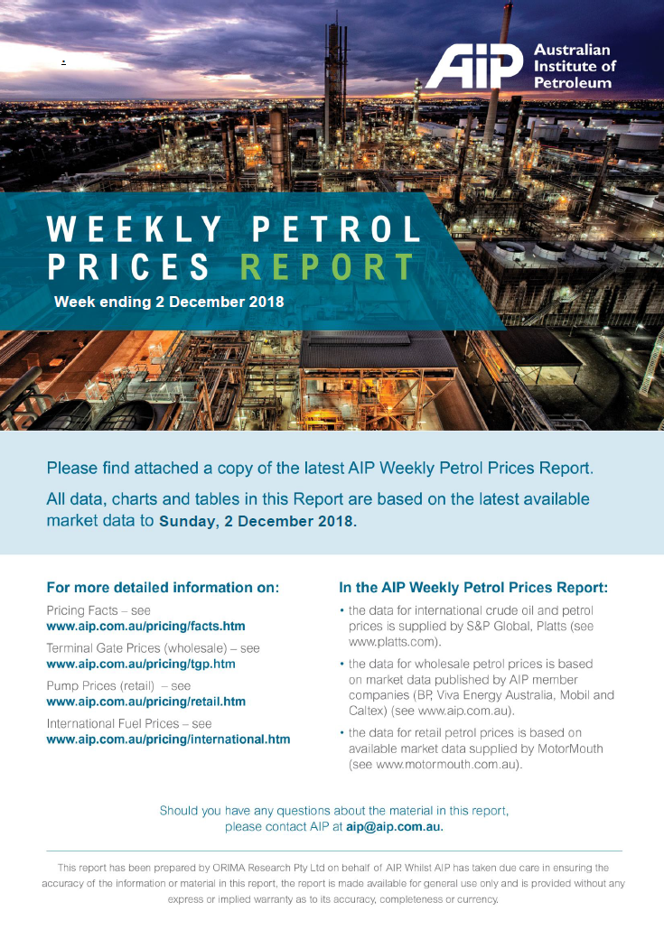 Weekly Petrol Prices Report - 2 December 2018