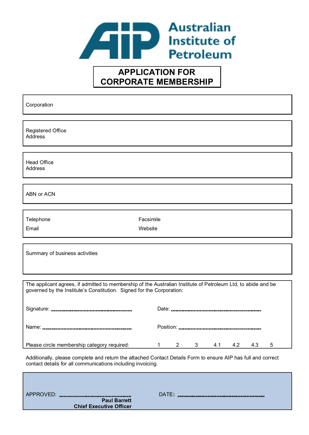 Application for Corporate Membership Form