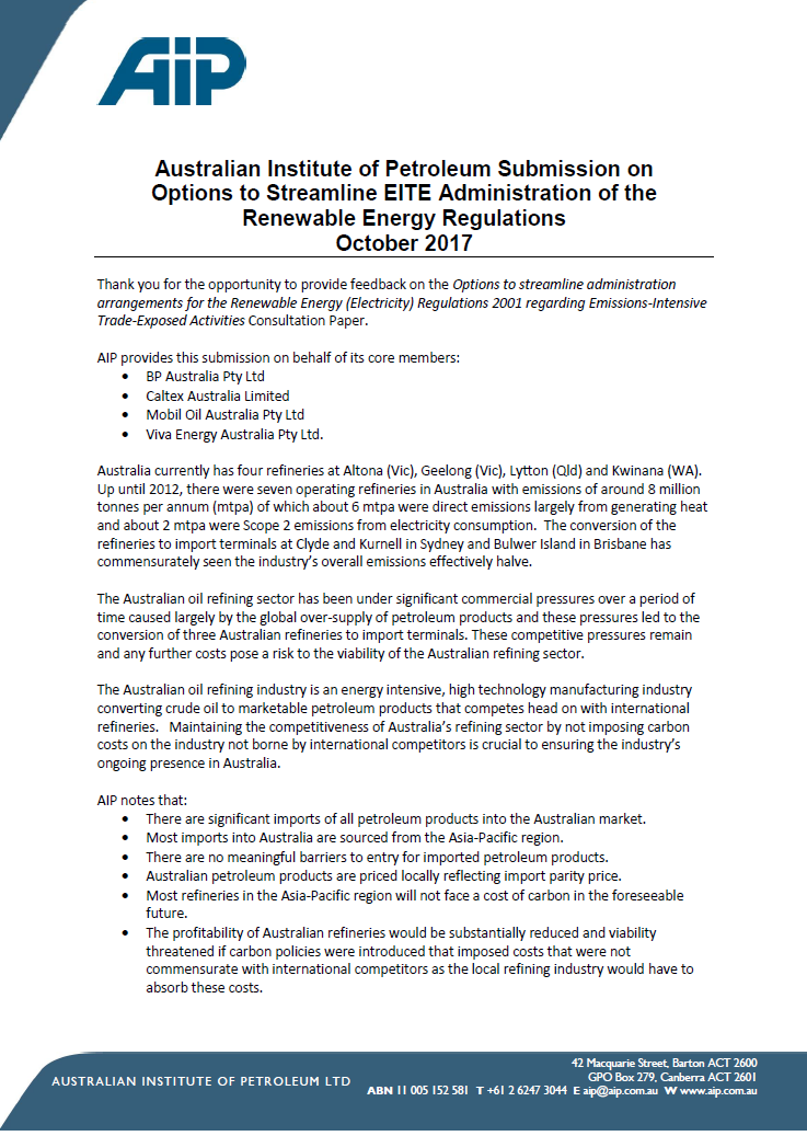 2017 10 AIP Submission to RET EITE Streamline Options Consultation Paper FINAL