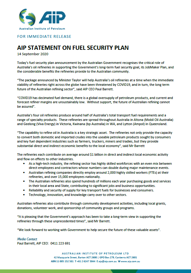 AIP Media Release - Fuel Security Plan