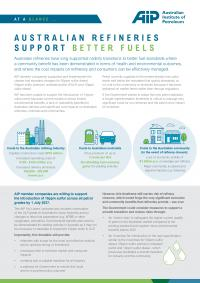 At a Glance: Australian Refineries Support Better Fuels