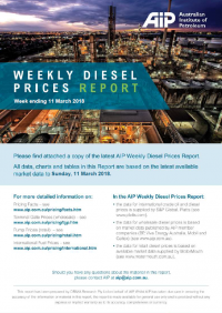 Weekly Diesel Prices Report - 11 March 2018
